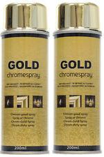 2 Bombes Peinture Chrome Or Doré Effet Miroir Gold Aérosol Spray 2X200 ml