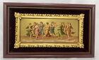 Vintage Ornate Burgundy Velvet Gold Accent Dancing Maidens Framed Picture MCM
