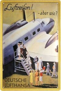 German Lufthansa Air Travel But Like? Tin Sign Embossed 7 7/8x11 13/16in
