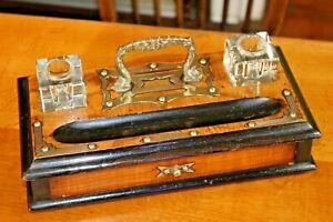 Antique Vintage Walnut & Brass Desk Tidy Glass Inkwell Stand Drawer 2 Inkwells
