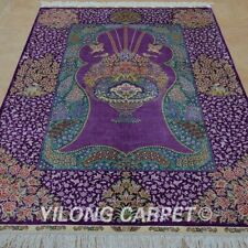 Yilong 4'x6' Interior Handmade Hand Knotted Silk Carpet Purple Area Rug 1062