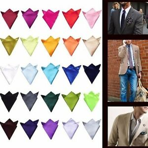 Mens Satin Solid Plain Color Handkerchief Hanky Pocket Square Wedding Party NEW