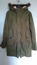 Mens Topman Khaki Borg Fleece Lined Fishtail Hooded Parka Coat, Size Medium