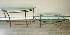 2 Vintage Weiman Brass and Glass Coffee Table & Sideboard Table Hoof Feet SET