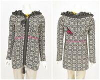 Womens Odd Molly Wool Cardigan Sweater Full Zip Hooded Grey Size 0 / XS