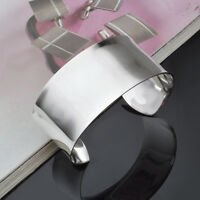 Wide 30MM Fashion Beauty Jewelry Bangle Sterling 925 Silver Plated Cuff Bracelet