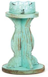 Western Moments Decorative Turquoise Wood Candle Holder