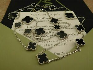 Auth Van Cleef&Arpels 18K White Gold 16 Motifs Onxy Vintage Alhambra Necklace