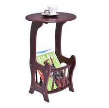 End Table Magazine Rack Storage Wood Side Stand Living Room Brown Round Small