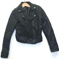 Aeropostale Leather Jacket Black Moto Small Quilted Biker Cropped Skulls Vegan