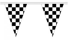 Black & White Checkered 5M Triangle Flag Bunting - 12 Flags - Triangular