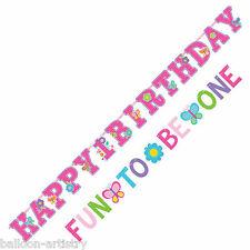 SWEET ROSA FARFALLA GIRL'S Happy 1st Festa di Compleanno Striscione Decorazione Set