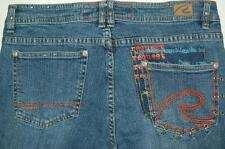 Request Denim Jeans Decorative Pockets Legs Colorful Knit Inserts Unisex Sz 30