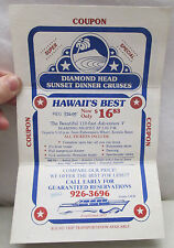Vintage Hawaii Souvenir Travel Diamond Head Sunset Dinner Cruises Coupon 1984