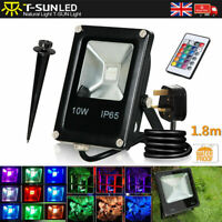 10W RGB LED Flood Light Spotlight 16 Colour Changing Garden Yard Outdoor Lamp UK