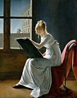 Young Woman Drawing by French  Marie-Denise Villers. Life Art 11x14 Print