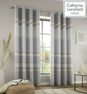 Catherine Lansfield Malawa Geo Eyelet Ring Top Fully Lined Curtains Pair Grey