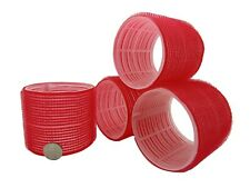 4 Huge Red XXL Large Jumbo Curl Cling Hair Rollers 74mm Adds Top Layer Volume