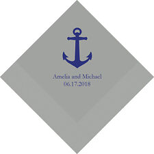 100 Anchor Beach Theme Personalized Wedding Luncheon Napkins