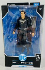 "2021 DC Multiverse SUPERMAN BLACK SUIT 7"" Figure Justice League Zack Snyder NEW"