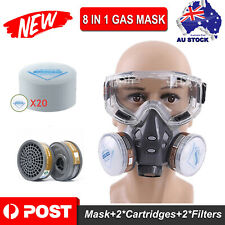 8 in 1 Full Face Gas Mask Respirator For Paint Spray Chemical Vapor with Goggles