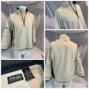 Ping Collection Golf Rain Jacket S Men Beige Poly Zipoff Sleeve Mint YGI B1-120