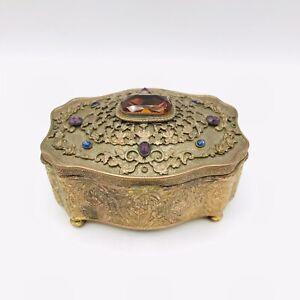 Antique Empire Art Gold J.B. Dresser Trinket Casket Box Jewel Tone Embellishment