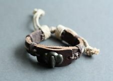 NEW Leather Hemp Metal Men's Bracelet Wristband Cuff