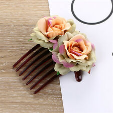 New Girl Double Silk Rose Flower Hair Comb Clip Wedding Bridal Party Beachy