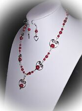 Heart Theme Necklace & Earrings...Red & Silver...