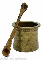 18c Antique Rare Old Handcrafted Engraved Brass Pooja Holy Water Pot. G53-513 US