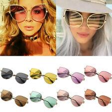 Large Oversized Cat Eye Sunglasses Women Flat Mirrored Lens Metal Frame Fashion