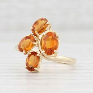 2ctw Orange Citrine Cluster Ring 14k Yellow Gold Size 6.75 November Birthstone