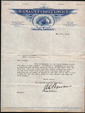 1924 Halifax Canada - Phonograph - His Masters Voice - Vintage Letter Head Rare