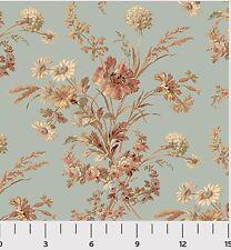 Southern Vintage Reproduction Floral Fabric 1yd 100% Cotton Civil War Blue