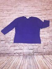 Jones New York Purple 100% Cashmere 3/4 Sleeve V-Neck Sweater L