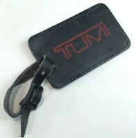 TUMI Leather Luggage Tag ID Identification Business Card Black Leather w/Red