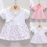 Summer Toddler Baby Kids Girl Ruched Floral Flowers Print Dress Princess Dresses
