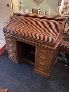 Stunning Antique Edwardian Oak Roll Top Desk by Lebus