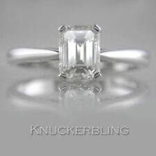 Emerald Engagement Solitaire Not Enhanced Fine Diamond Rings