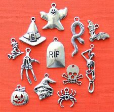 Halloween Charm Collection 12 Tibetan Silver Tone Charms FREE Shipping E70