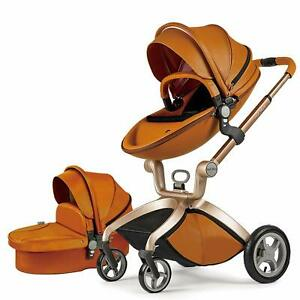 Baby Stroller 2018, Hot Mom Baby Carriage with Bassinet Combo, Brown