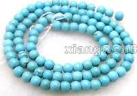 """4-4.5mm Round Natural Blue TURQUOISE Beads for Jewelry Making DIY Strand 15"""" 532"""