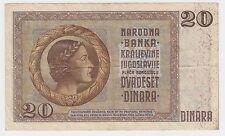 20 Dinara 1936, Yugoslavia Kingdom paper money, GERMANY OCCUPATION - RARRE !
