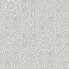QUILTING TREASURES DECORATIVE FLOWER WHITE LACE PRINT ON GRAY COTTON BTY