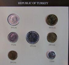 - TURQUIE - Set de monnaies UNC - dates mixées - Avec timbres -