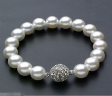 10mm Round White South Sea Shell Pearl Beads Bracelet 7.5'' AAA+ CZl Clasp