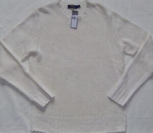 New Mens POLO Ralph Lauren White Italian Yarn Linen Crewneck Sweater Size L $245