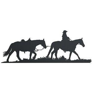 Metal Cowboy Leading Horse Hanging Sign
