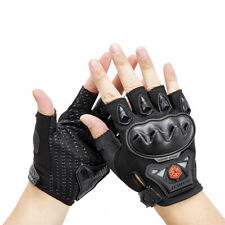 Summer Half Finger Motorcycle Riding Gloves Fingerless ABS Knuckle Armor Black